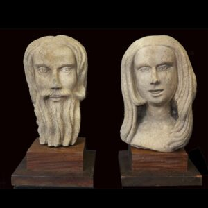 26-15796x, Wonderful carved white limestone bust of Adam and Eve, Bethel CT, late 19th early 20th century. $18,500