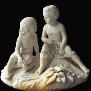 Two piece carved marble statue of two little boys on mound, signed and dated D. Richard, 1862, found in Syracuse NY. $19,500