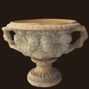 27-16753x, Terra cotta garden urn, two part ornate molded relief, branch molded handles, later19th early 20th century. $4,450
