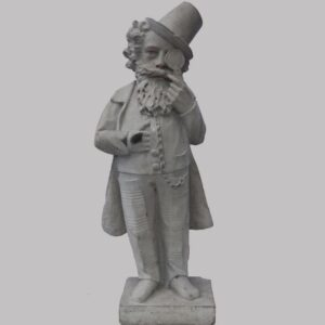 31-22652, Carved limestone figure of a gent in top hat and eye glass, probably English, later 19th century. $3,950