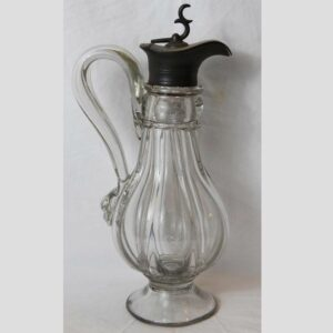 27-15465, Great form blown glass pillar mold syrup, applied handle,  Pittsburg district. $775