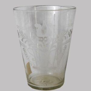 2-12503, Large flint glass flip Stiegel type wheel engraved basket and tulips design. $395