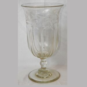 20-5886x, Blown flint glass footed celery paneled and wheel engraved deign Pittsburg District, mid 19th century. $595