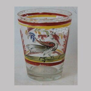 15-25394, Stiegel type blown flint glass flip, enameled exotic bird design. $375