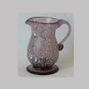 23-10549, Unusual blown glass pitcher amethyst and white applied handle, footed, late 18th early 19th century. $575