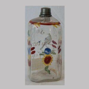 2-13095, Stiegel type blown glass bottle enameled bird and script. $345
