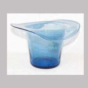 2-5862, Blown flint glass hat form, light blue color. $395