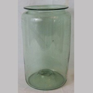 22-4792, Early 19th century blown glass jar neat light green color, flared rim. $450