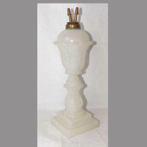 15-25530, Mold blown flint glass Boston sandwich glass fat lamp. $575