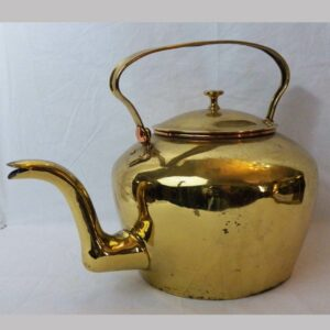 16-27277, Unusual brass teapot, copper trim, American, early to mid 19th century. $695