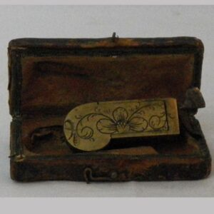 24-12845, Small brass and iron bleeder, fancy incised floral design, signed ?. D. PA, with box.