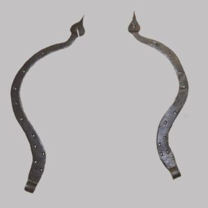 2-9213, Pair of large wrought iron curved spade end hinges. PA. $325