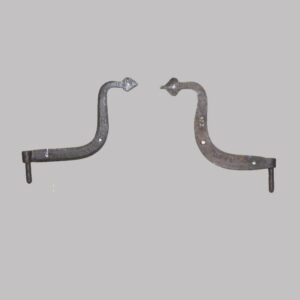 25-11736, Pair of wrought iron curved hinges, pintal and spade ends. $375