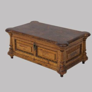 24-10872x, Wonderful form tiger and curly maple miniature chest, beaded raised panel, PA or Ohio. $1,950