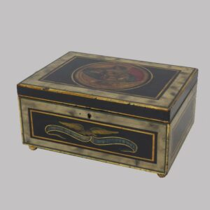 29-19358x, Paint decorated box dovetailed construction, probably school girl related, lid with portrait of young lady, Probably New England. $2,950