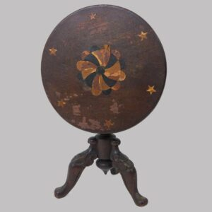 27-16096x, Miniature or childs size candlestand, inlaid top carved legs claw feet, probably Chester Co., PA. $2,950