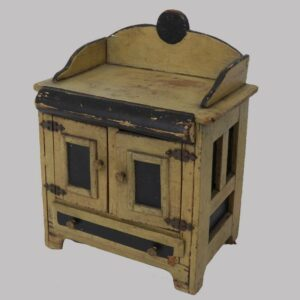 22-5979x, Primitive miniature child's toy cupboard paneled sides, PA, turn of 19th century. $595