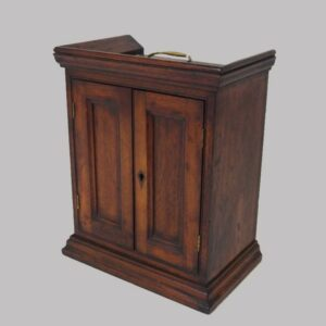 15-24781, Mahogany two door valuables cupboard or spice cupboard, carrying bail, early to mid 19th century. $595