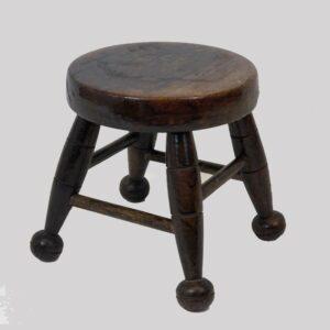 15-24600, Small Windsor turned stool, folky ball foot. $395