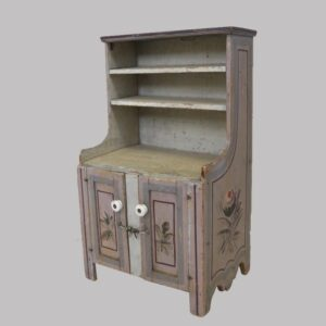 26-14660x, Miniature child's size PA open top pewter cupboard, paint decorated flower panels. $695