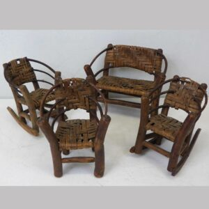 12-21525, 4 Pcs. set of Adirondack furniture, child's or sales sample, late 19th early 20th century. $395