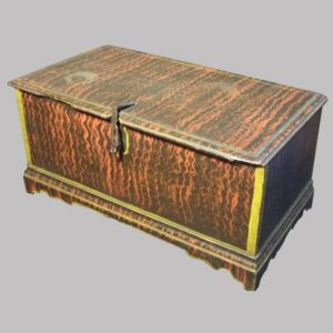 27-15733, Miniature painted blanket chest black and red stipple design, cotter pin hinges, bracket feet, late 18th early 19th century. $7,500
