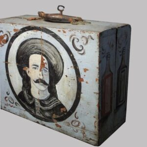 20-5496, Folk art trenching box, painted wood, an Indian Chief and wild Bill Cody, late 19th century, Juniata Co., PA. $3,450