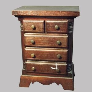 27-15924x, Miniature mahogany and pine Chippendale high chest, quarter columns, 1890-1910. $995