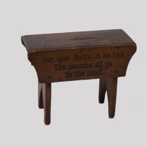 2-11580, Folky miniature bench penny bank, interesting verse, PA early 20th century. $375