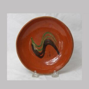26-14506, PA redware plate unusual green and black slip decoration, good condition. Image