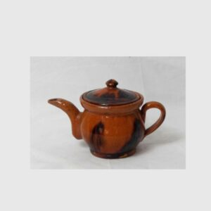 30-20237, Miniature PA redware pottery teapot, black manganese splash decoration, mid 19th century. $2,950
