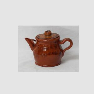 14-23304, Miniature PA redware teapot with cover, Nese Moul family, lid glued. $1,850