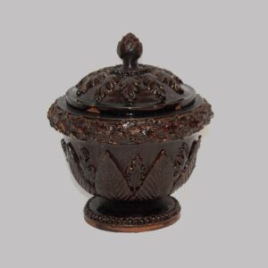 15-25471, Rare Redware pottery sugar bowl with cover, applied foliage and leaf, beaded base, black manganese glaze, probably PA. $1,695