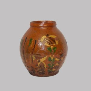 24-10617, PA Redware ovoid jar, rare three color slip floral decoration, some loses. $5,950