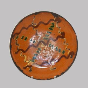 27-15996, Berks Co., PA Redware pottery 3 color slip decorated plate, some wear. $2,450