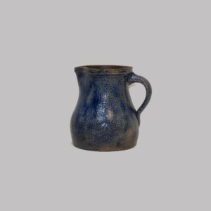 14-23938, Unusual stoneware pitcher neat size, overall cobalt blue glaze, probably NY State or Ohio. $900
