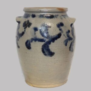 31-20802, Stoneware ovoid 2 gallon jar, cobalt blue floral decoration. $450