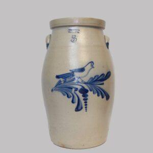 12-21899x, Rare 5 gallon stoneware butter churn, cobalt blue bird on floral branch, Evans Jones, Pittston PA, (crack). $2,450