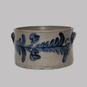 28-17532x,  Stoneware butter crock, bold cobalt blue tulip and stem decoration, thin form. $1,150