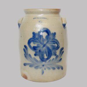 13-22353, 3 gal Cowden & Wilcox Harrisburg PA stoneware jar, blue flower decoration, freeze lines. $750