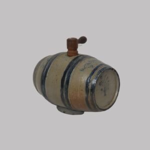 23-9811x, Rare form stoneware footed keg barrel, raised relief and cobalt blue bands, firing loss to spout. $2,675