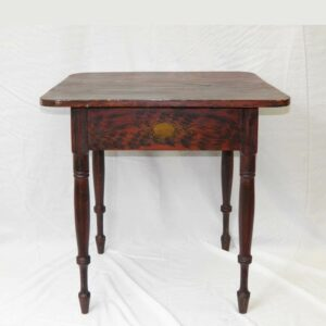 12-21428, Paint decorated Sheraton turned leg stand, various grains red and black, gold stenciling probably Maine, 1830-50's. $4,950