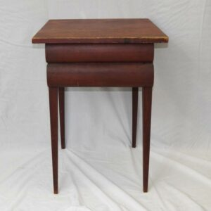 16-26388, Unusual PA country 2 drawer stand, 1/2 round drawer fronts, cut nails, taper legs, early to mid 19th century. $695