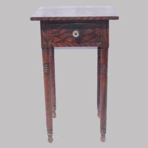 16-27141, PA paint decorated Sheraton 1 drawer stand, turned legs, unusual walnut red ground, black graphics. $1,295