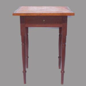 16-26887, Shereton one drawer stand turned leg, unusual maple and mahogany top, PA or Ohio. $975