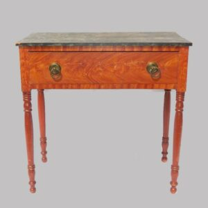 16-27305, Paint decorated Sheraton sideboard table, single drawer, turned legs, marbleized top red case. $1,950