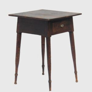 16-26377, PA softwood painted turned splay leg table, one drawer original surface, probably Berks Co. $1,495