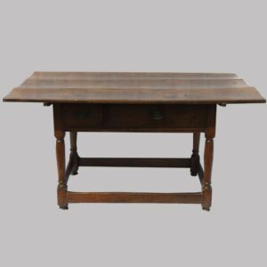 16-26740, PA walnut tavern table, 2 drawers lift top turned and block legs, stretcher base, untouched, 1790-1810. $2,950