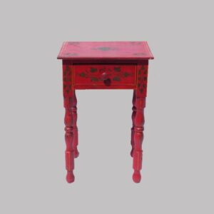 16-27091, Paint decorated youth size 1 drawer stand, folky turned legs vibrant red paint stenciled foliage, western PA. $4,850