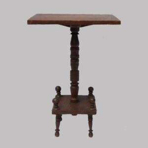 16-26374, PA candle stand, rectangular top folky turned pedestal ball finials, original red paint, Sellersville, PA. $1,750